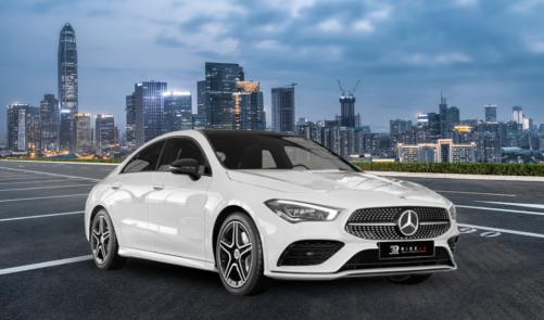 Ride Ad Luxury & Sports Car Rental Mercedes Benz CLA 180d Coupé weis Langzeitmiete